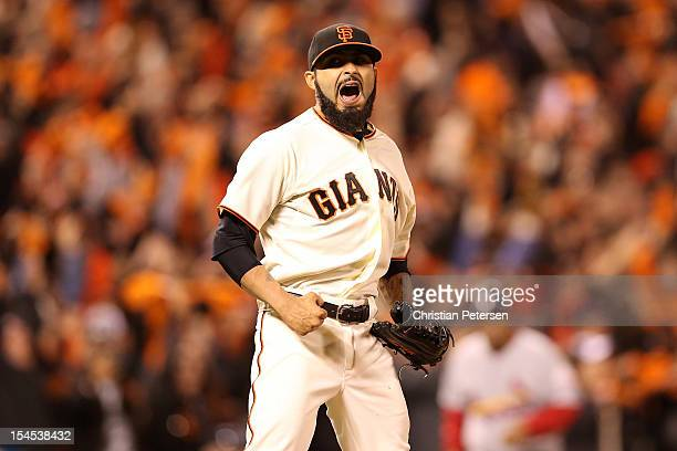Sergio Romo of the San Francisco Giants reacts after recording the last out as the Giants defeat the St Louis Cardinals 61 in Game Six of the...