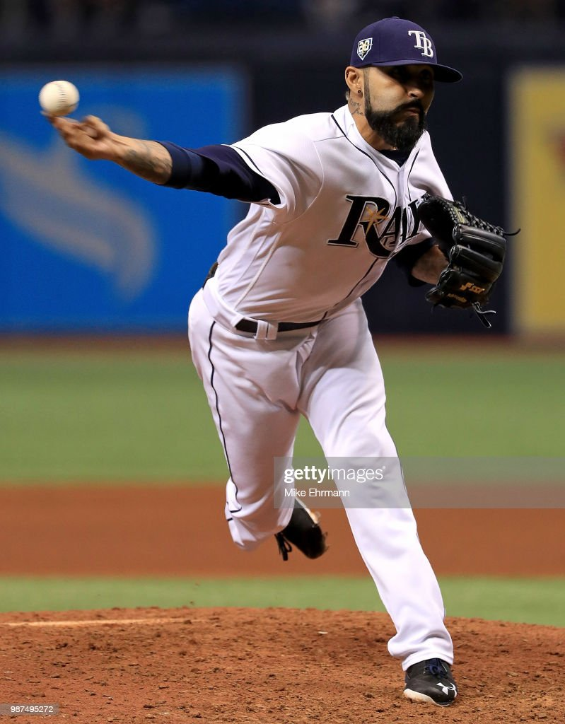 Sergio Romo #54 of the Tampa Bay Rays pitches during a game against the Houston Astros at Tropicana Field on June 29, 2018 in St Petersburg, Florida.