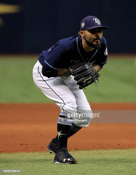 Sergio Romo of the Tampa Bay Rays plays third base in the ninth inning during a game against the New York Yankees at Tropicana Field on July 25 2018...