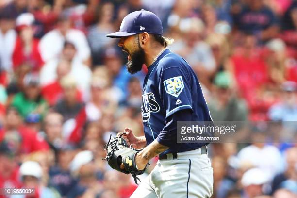 Sergio Romo of the Tampa Bay Rays reacts after a victory over the Boston Red Sox at Fenway Park on August 19 2018 in Boston Massachusetts