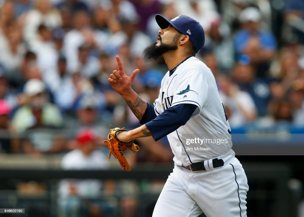 Sergio Romo #54 of the Tampa Bay Rays reacts after the eighth inning against the New York Yankees at Citi Field on September 13, 2017 in the Flushing neighborhood of the Queens borough of New York City. The two teams were scheduled to play in St. Petersburg, Florida but due to the weather emergency caused by Hurricane Irma, the game was moved to New York, but with Tampa Bay remaining the 'home' team.