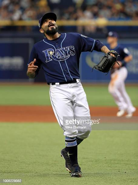 Sergio Romo of the Tampa Bay Rays reacts to winning a game against the New York Yankees at Tropicana Field on July 25 2018 in St Petersburg Florida