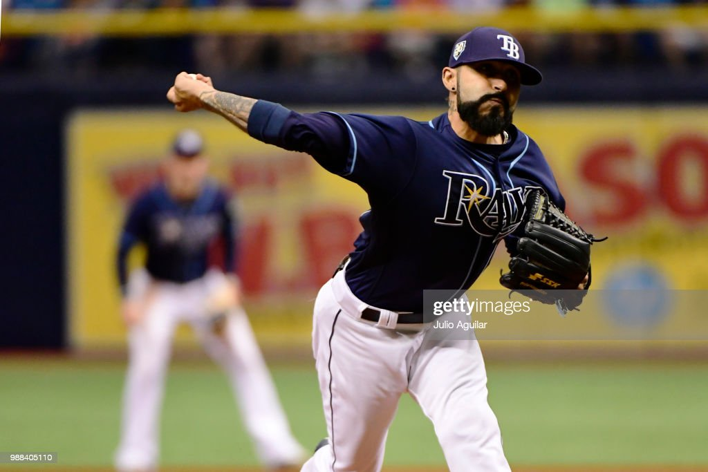 Sergio Romo #54 of the Tampa Bay Rays throws a pitch in the ninth inning against the Houston Astros on June 30, 2018 at Tropicana Field in St Petersburg, Florida.