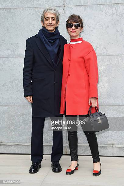 Sergio Rubini and Carla Cavalluzzi arrive at the Giorgio Armani show during Milan Men's Fashion Week Fall/Winter 2016/17 on January 19 2016 in Milan...