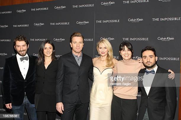 "Sergio Sanchez, Belen Atienza, Ewen McGregor, Naomi Watts, Maria Belon, and J.A. Bayona attend ""The Impossible"" New York Special Screening at Museum..."