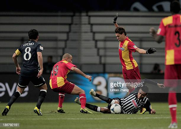 Sergio Santana of Monterrey challenges during the FIFA Club World Cup 5th Place match between Club de Futbol Monterrey and Esperance Sportive de...