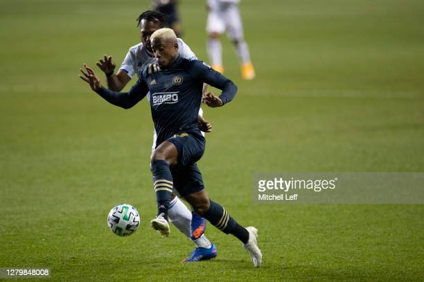 Sergio Santos of Philadelphia Union battles for the ball against Kendall Waston of FC Cincinnati at Subaru Park on October 7 2020 in Chester...
