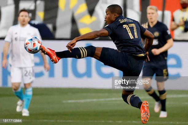 Sergio Santos of the Philadelphia Union reaches for the ball during the first half against the the New England Revolution at Subaru Park on May 12,...