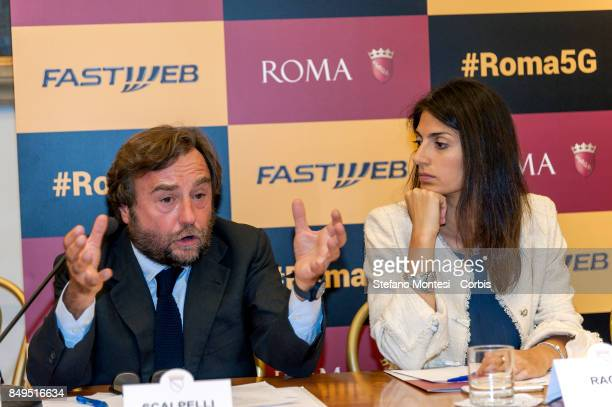 Sergio Scalpelli Director of External Relations and Institutions of Fastweb with Virginia Raggi Mayor of Rome during the press conference for the...