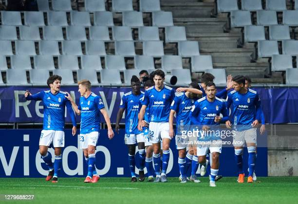 Sergio Tejera of Real Oviedo celebrates after scoring goal during the La Liga Smartbank match between Oviedo and Real Sporting at Carlos Tartiere on...