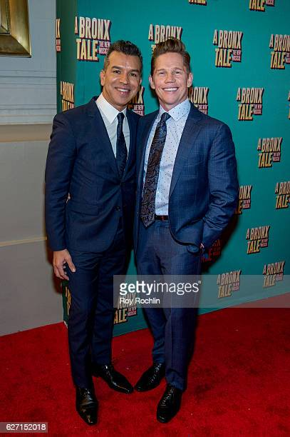Sergio Trujillo and Jack Noseworthy attend 'a Bronx Tale' Broadway Opening Night at The Longacre Theatre on December 1 2016 in New York City