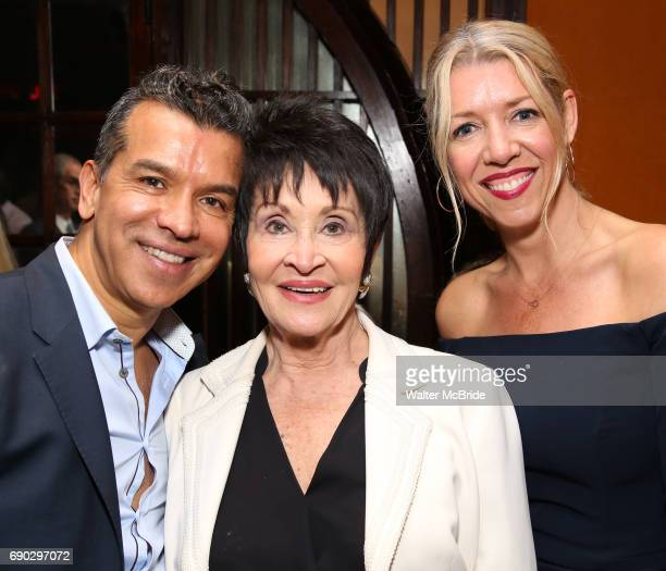 Sergio Trujillo Chita Rivera and Kelly Devine attend the 2017 Chita Rivera Awards Nominees' Reception at The Lambs Club on May 30 2017 in New York...