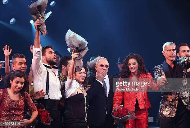 Sergio Trujillo Josh Segarra Gloria Estefan Emilio Estefan Ana Villafane Jerry Mitchell and cast during the Broadway opening night curtain call bows...