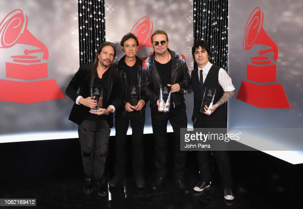 Sergio Vallin Juan Calleros Fher Olvera and Alex Gonzalez of Mana pose with the 2018 Person of the Year Award during the 19th annual Latin GRAMMY...