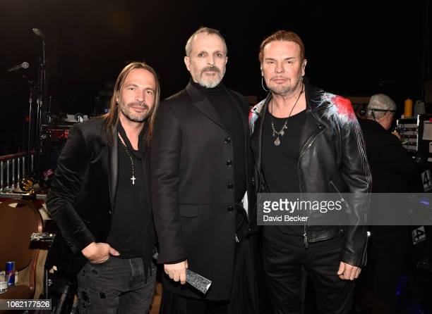 Sergio Vallin of Mana Miguel Bose and Fher Olvera of Mana attend the 19th annual Latin GRAMMY Awards at MGM Grand Garden Arena on November 15 2018 in...