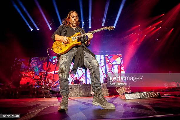 Sergio Vallin of Mana performs on stage at Palau Sant Jordi on September 6 2015 in Barcelona Spain