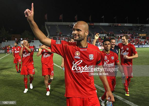 Sergio Van Dijk of Adelaide celebrates after the the round 24 ALeague match between Adelaide United and the North Queensland Fury at Hindmarsh...