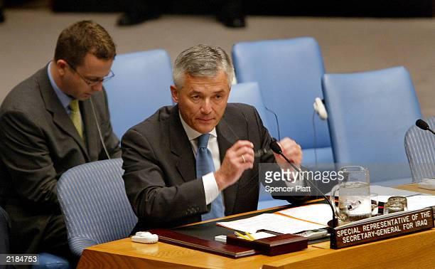 Sergio Viera de Mello Secretary General Kofi Annan 's envoy to Iraq prepares to speak at the UN Security Council meeting at the United Nations...