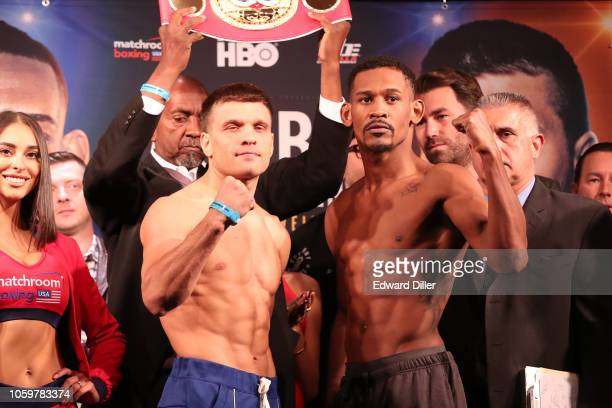 Sergiy Derevyanchenko of Ukraine and Daniel Jacobs face off for their upcoming middleweight fight on October 26, 2018 in New York City.