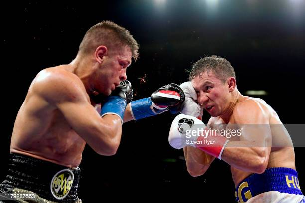 Sergiy Derevyanchenko punches Gennady Golovkin during their IBF middleweight title bout at Madison Square Garden on October 05 2019 in New York City