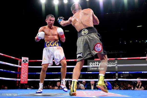 Sergiy Derevyanchenko punches Gennady Golovkin during their IBF middleweight title bout at Madison Square Garden on October 05, 2019 in New York City.