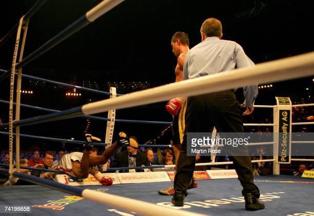 Sergiy Dzinziruk of Ukraine celebrates winning the fight after knocking out Carlos Nascimento of Brazil during the WBO super welterweight...