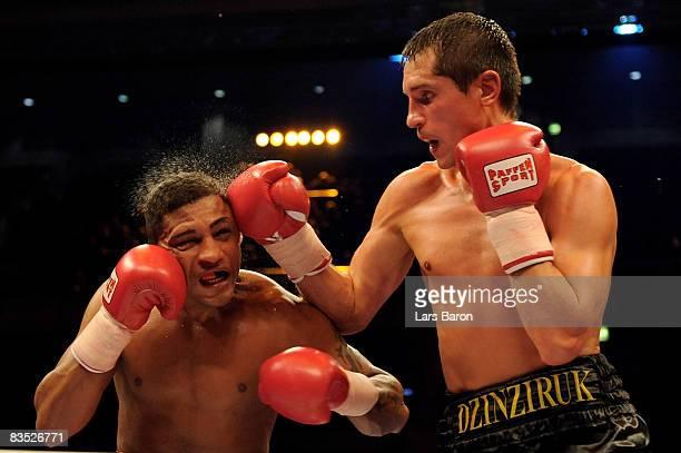 Sergiy Dzinziruk of Ukraine in action during the WBO super welterweight world championship fight against Joel Julio of Clombia prior to the WBA...