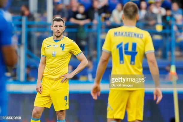 Sergiy Kryvtsov of Ukraine looks on during the international friendly match between Ukraine and Cyprus at Metalist Stadium on June 7, 2021 in...