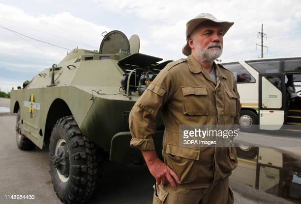 Sergiy Myrnyi commander of the platoon of radiation intelligence seen on the Dytyatky checkpoint at the Chernobyl exclusion zone in Pripyat The HBO...