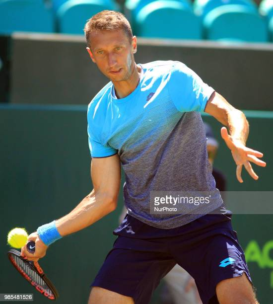 Sergiy Stakhovsky during his match against Liam Broady day two of The Boodles Tennis Event at Stoke Park on June 27 2018 in Stoke Poges England