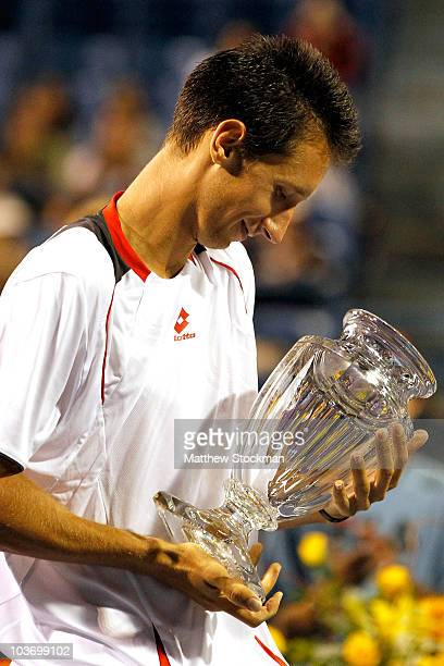Sergiy Stakhovsky of the Ukraine celebrates his win over Denis Istomin of Uzebekistan during the final of the Pilot Pen tennis tournament at the...