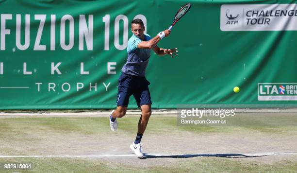 Sergiy Stakhovsky of the Ukraine in action during the Men's final between Sergiy Stakhovsky of the Ukraine and Oscar Otte of Germany on day Eight of...