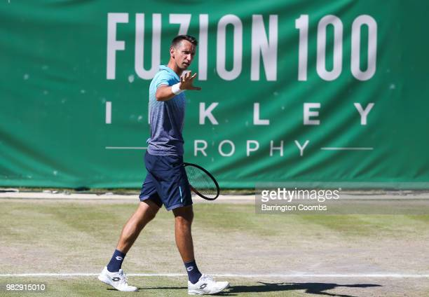 Sergiy Stakhovsky of the Ukraine reacts during the Men's final between Sergiy Stakhovsky of the Ukraine and Oscar Otte of Germany on day Eight of the...