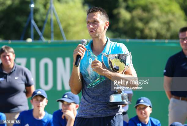 Sergiy Stakhovsky of the Ukraine speaks tot eh crowd after winning the final against Oscar Otte of Germany on day Eight of the Fuzion 100 Ikley...