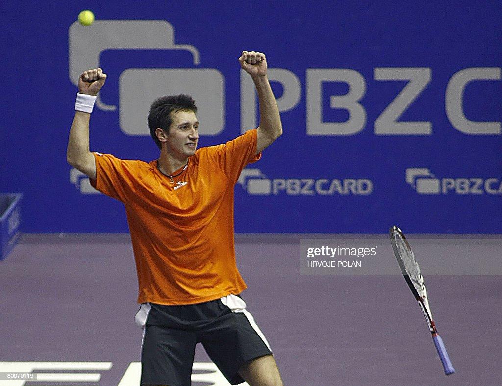 Sergiy Stakhovsky of Ukraine celebrates : News Photo