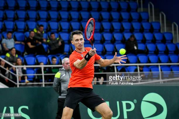 Sergiy Stakhovsky of Ukraine is pictured during a match with Tung-Lin Wu of Chinese Taipei during the Davis Cup World Group I First Round Play-Offs...