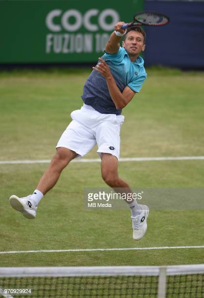 Sergiy Stakhovsky on Day Six of the Fuzion 100 Surbiton Trophy at the Surbiton Racket & Fitness Club on June 7 , 2018 in Surbiton,England