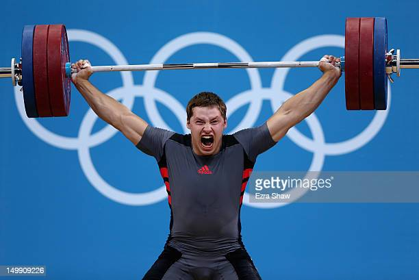 Sergiy Tagirov of the Ukraine competes in the men's 105kg weightlifting on Day 10 of the London 2012 Olympic Games at ExCeL on August 6, 2012 in...