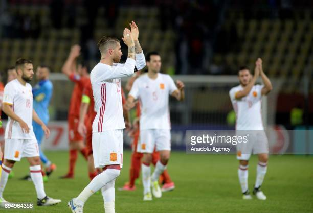 Sergo Ramos of Spain gestures after the FIFA 2018 World Cup Qualifiers Group G match between Macedonia and Spain at Philip II Arena in Skopje...