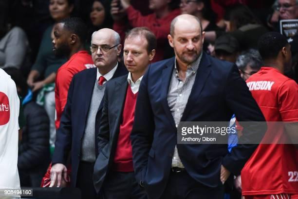 Serguei Dyadechko president of AS Monaco basket and Zvezdam Mitrovic coach of Monaco during the Pro A match between Nanterre 92 and Monaco on January...