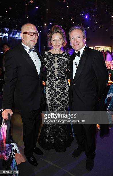 Serguei Kovanda Anastasia Kovanda and Getty Images Senior Director of Photography Georges De Keerle attend the Gala Dinner for amfAR's 20th Annual...