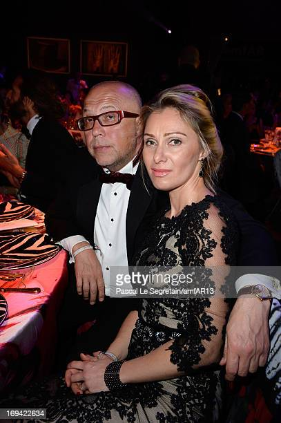 Serguei Kovanda and Anastasia Kovanda attend the Gala Dinner for amfAR's 20th Annual Cinema Against AIDS at Hotel du CapEdenRoc on May 23 2013 in Cap...