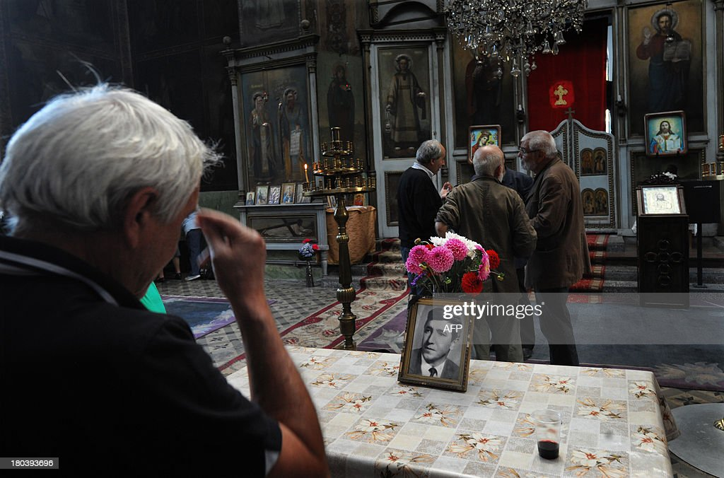 SERGUEVAPeople attend a commemoration service marking the 35th anniversary of the death of Georgi Markov, a Bulgarian disident killed in London in 1978, on September 12, 2013 in a church in Sofia.