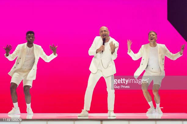 Serhat from San Marino performs during the 64th annual Eurovision Song Contest held at Tel Aviv Fairgrounds on May 14 2019 in Tel Aviv Israel