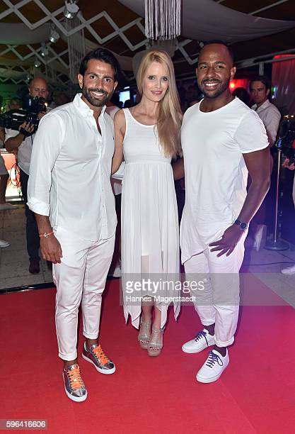 Serhat Yilmaz Mirja du Mont and Inan Lima during the Serfan fashion show night on August 27 2016 in Starnberg Germany