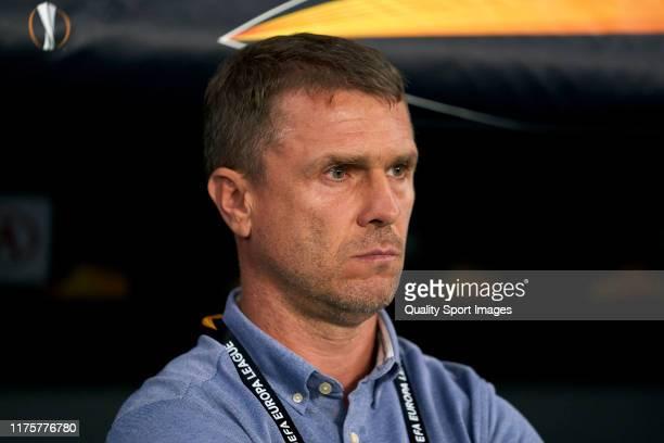 Serhii Rebrov head coach of Ferencvarosi TC looks on prior to the UEFA Europa League group H match between Espanyol Barcelona and Ferencvarosi TC at...