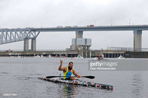 Serhii Yemelianov of Team Ukraine celebrates winning the Gold Medal after he competes in the Men's Kayak Single 200m - KL3 Final A on day 10 of the...
