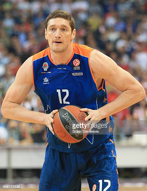 Serhiy Lishchuk of Valencia Basket in action during the 20142015 Turkish Airlines Euroleague Group D Round 3 between Crvena Zvezda Belgrade and...