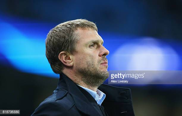 Serhiy Rebrov head coach of Dynamo Kiev looks on prior to the UEFA Champions League round of 16 second leg match between Manchester City FC and FC...