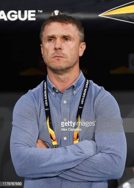 Serhiy Rebrov Manager of Ferencva looks on during the UEFA Europa League group H match between Espanyol Barcelona and Ferencvarosi TC at Power8...